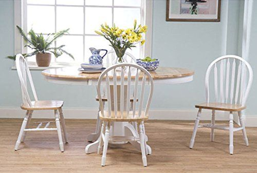 Simple Living Farmhouse 5 Piece White Natural Dining Room