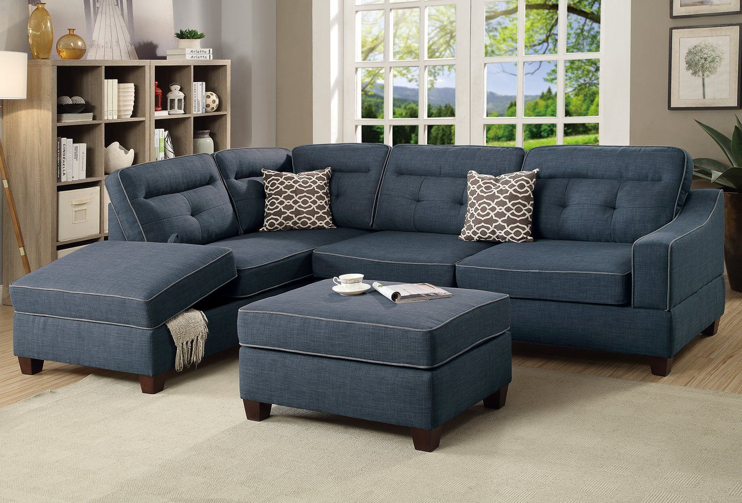 Amazon Com Poundex F6523 Bobkona Kathie Sectional Set Dark Blue Kitchen Dining Sectional Sofa Couch Sectional Sofa Furniture