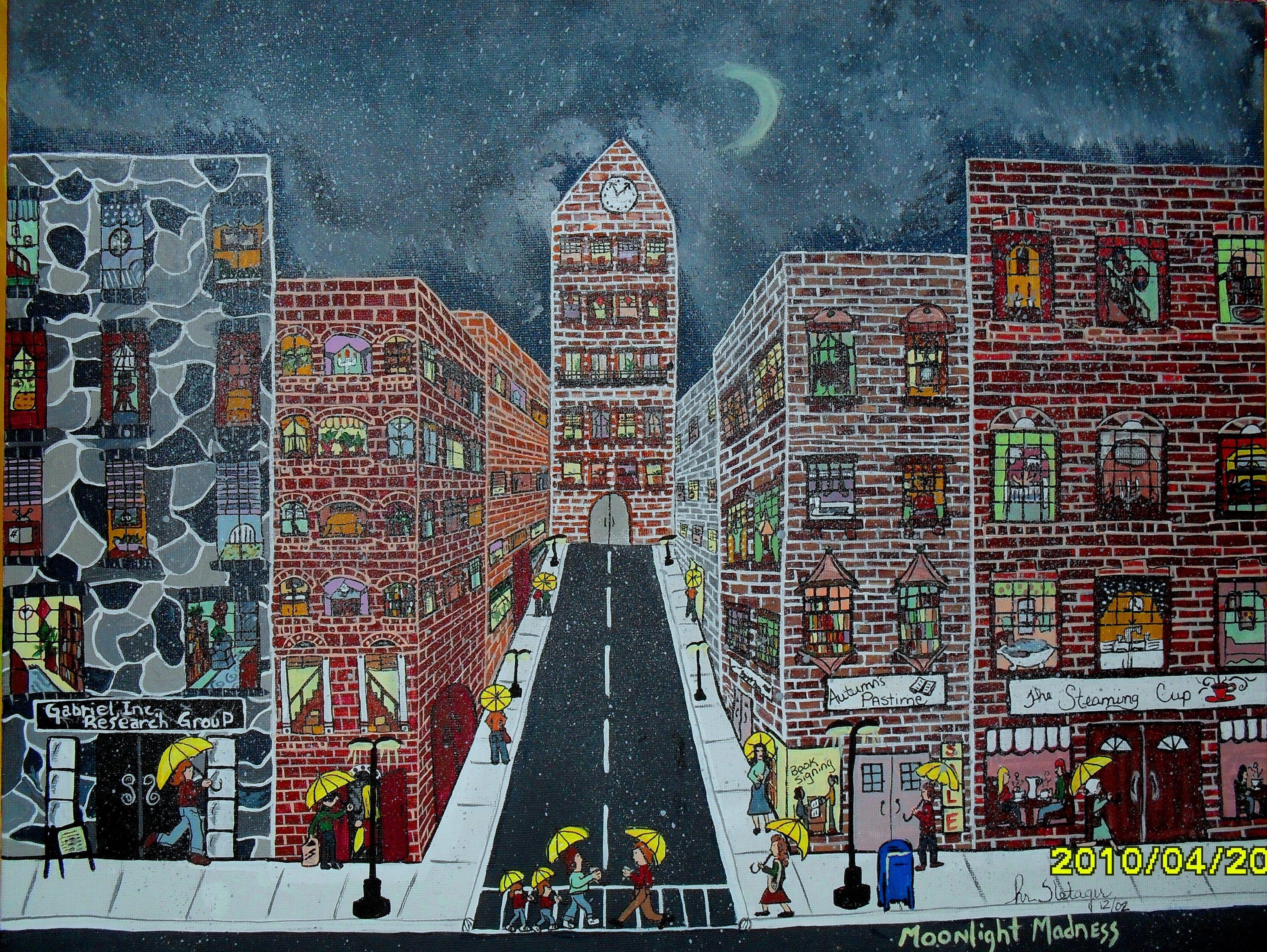 street scene on a rainy night.