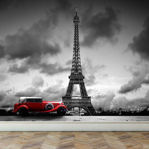 Wall Mural Eiffel Tower in Paris and Retro red car, Peel