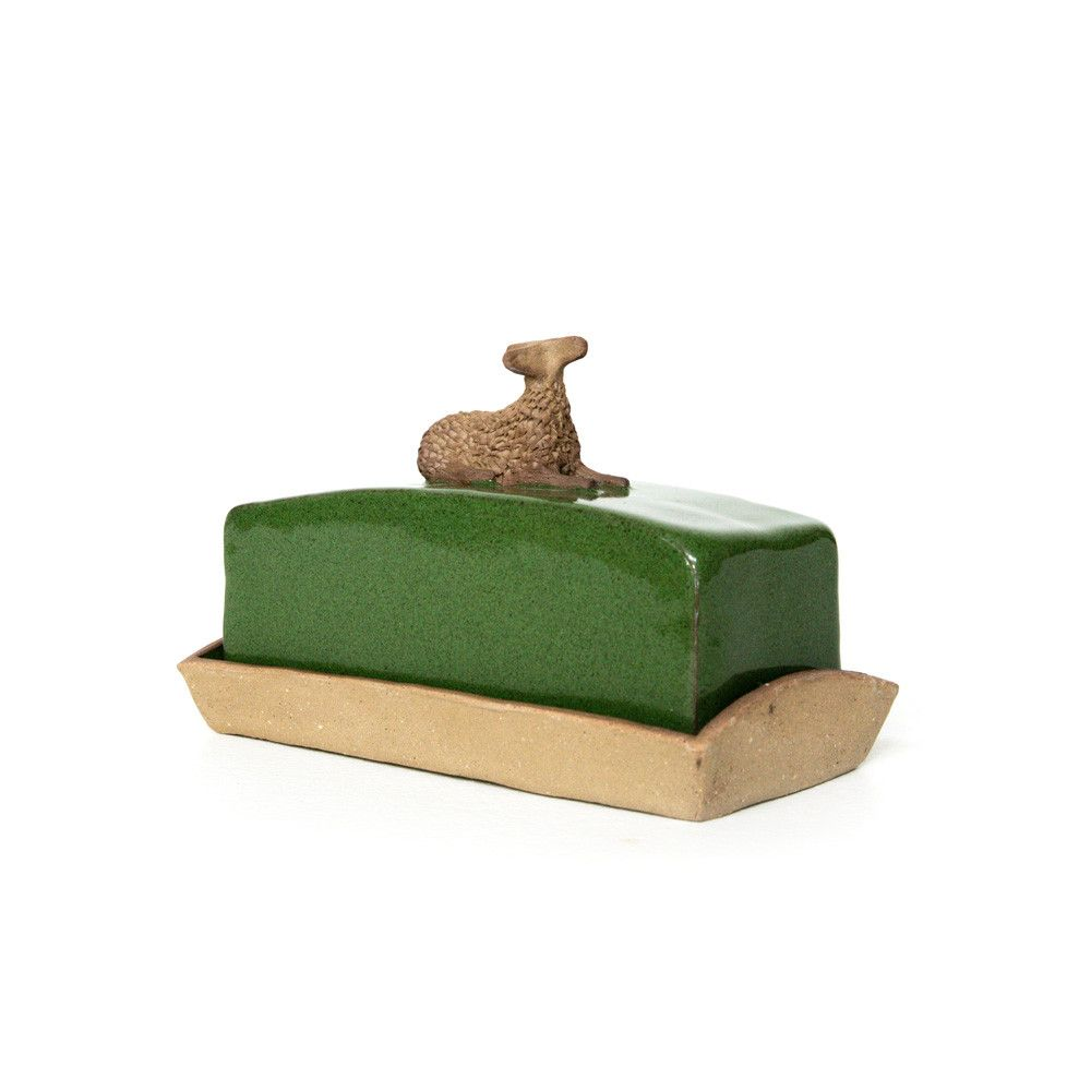 CERAMIC BUTTER DISH - GREEN LAMB
