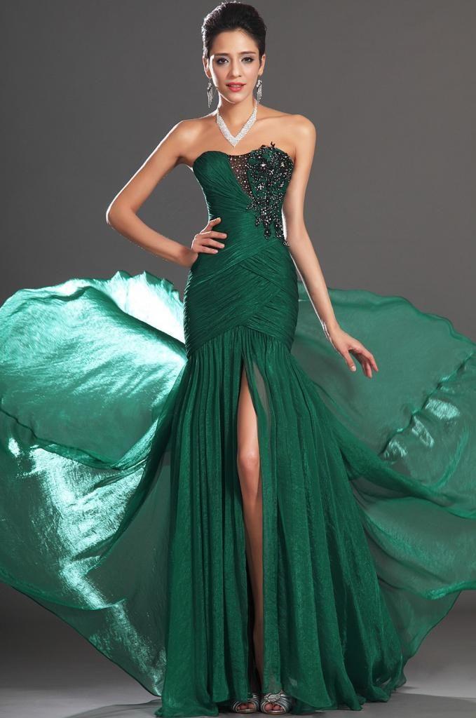 Pas cher Chérie fente avant vert émeraude sirène robe de bal parti robe de  soirée Custom