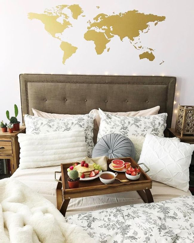 World map worldmap bed design and dorm stuff gold worldmap decal by urbanwalls gumiabroncs Gallery