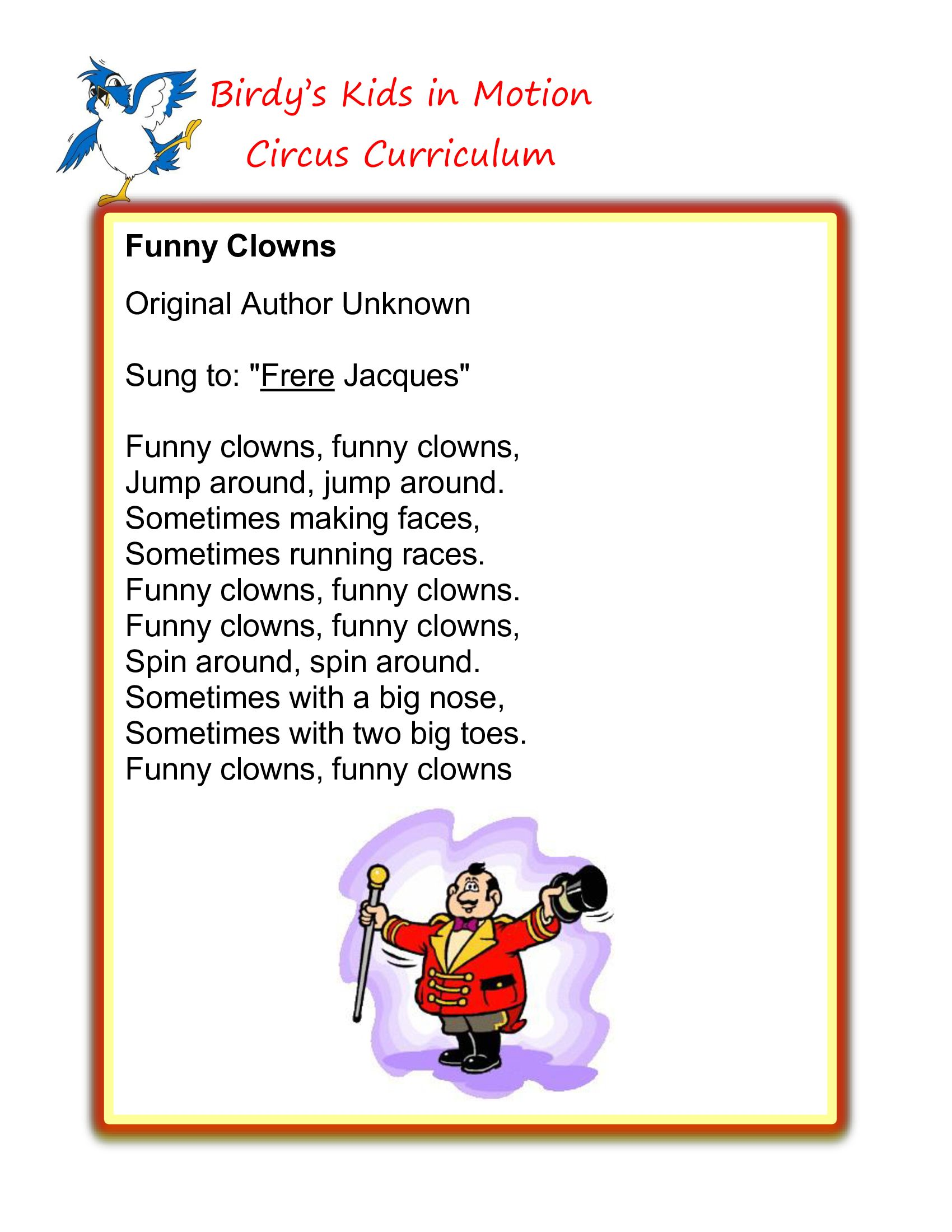 Funny Clowns Song Birdyskids Toddlercreativemovement