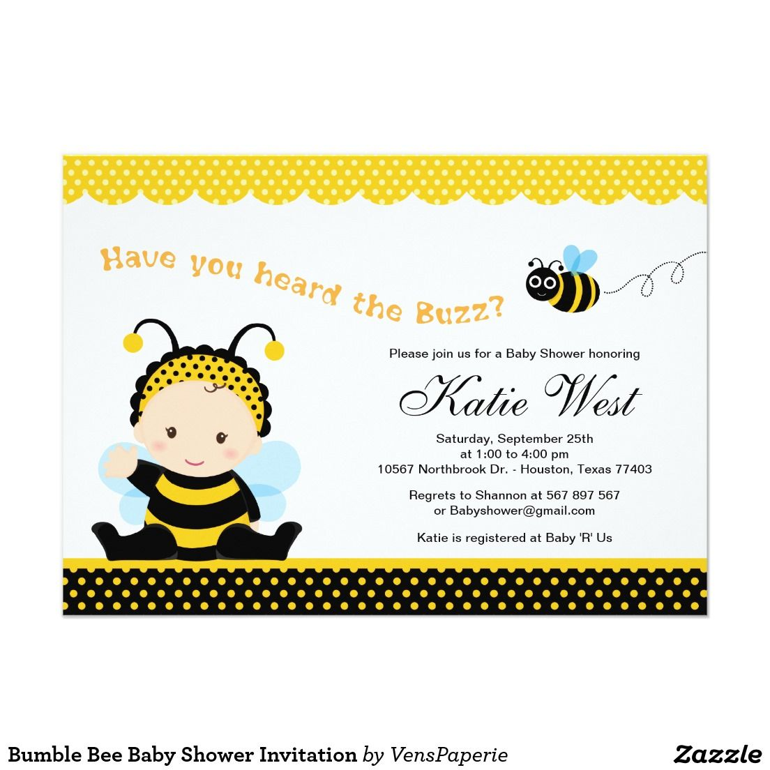 Bumble Bee Baby Shower Invitation | baby | Pinterest | Bumble bees ...
