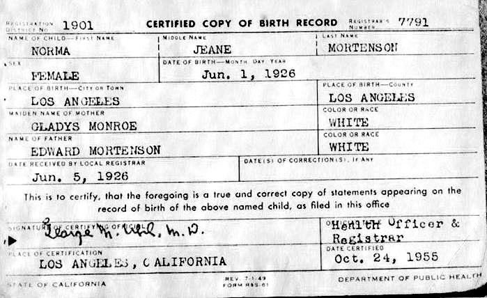 Marilyn Monroe Birth Certificate Marilyn Monroe Pinterest