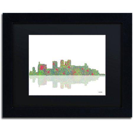 Trademark Fine Art Birmingham Alabama Skyline Canvas Art by Marlene Watson Black Matte, Black Frame, Size: 16 x 20, Multicolor