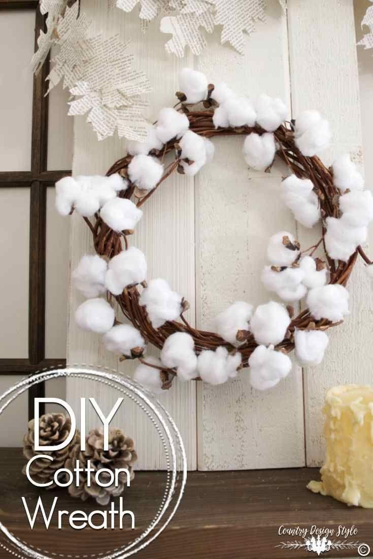 Diy Cotton Wreath Country Design Style Cotton Wreath Diy Wreath Farmhouse Wreath