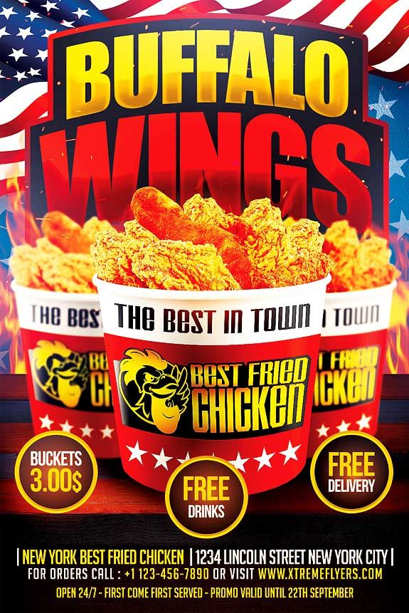 Wings Fast Food Flyer Template  HttpXtremeflyersComWings