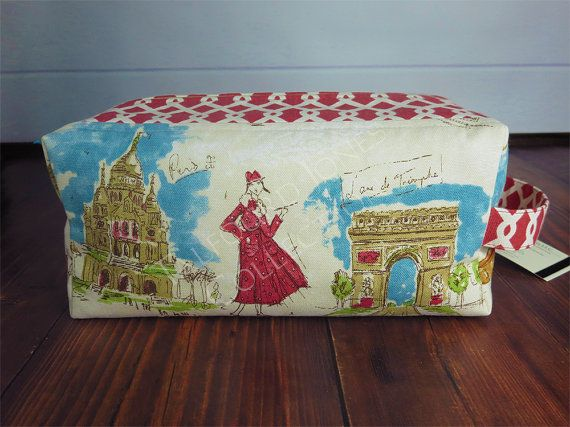 88d3ee2df5 Jumbo Toiletry Box Pouch - Makeup or Cosmetic Storage - Toiletry Bag -  Knitting Project Bag - Waverly Fabrics Tres Chic - Paris Scene