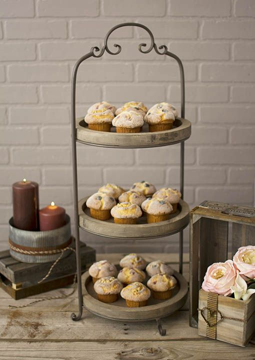 Add Rustic Accents To Your Event By Surrounding Our Three Tiered Serving Tray With Candles Yardstick Round Serving Tray Tiered Serving Trays Serving Tray Wood
