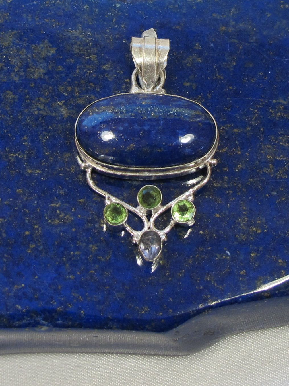 Lapis Pendant 1 with Peridot and Amethyst  << ... imma post this here... just to see what will happpen...