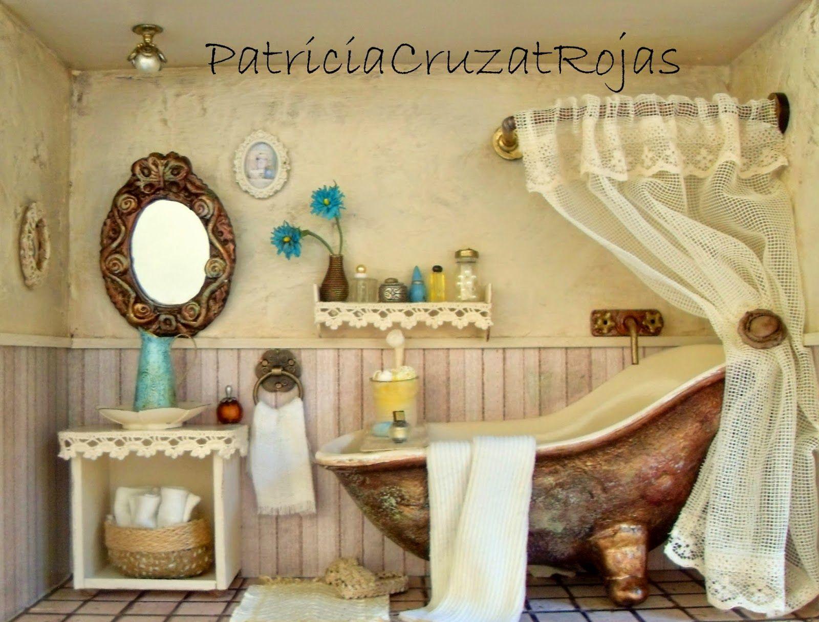 Patricia cruzat artesania y color ba o rustico con - Cuadros para banos ...