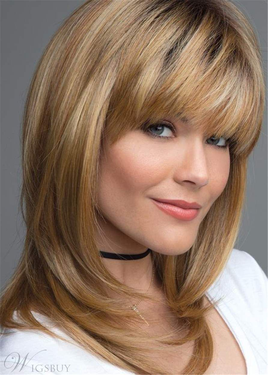 Layered shag hairstyle with bangs medium synthetic capless