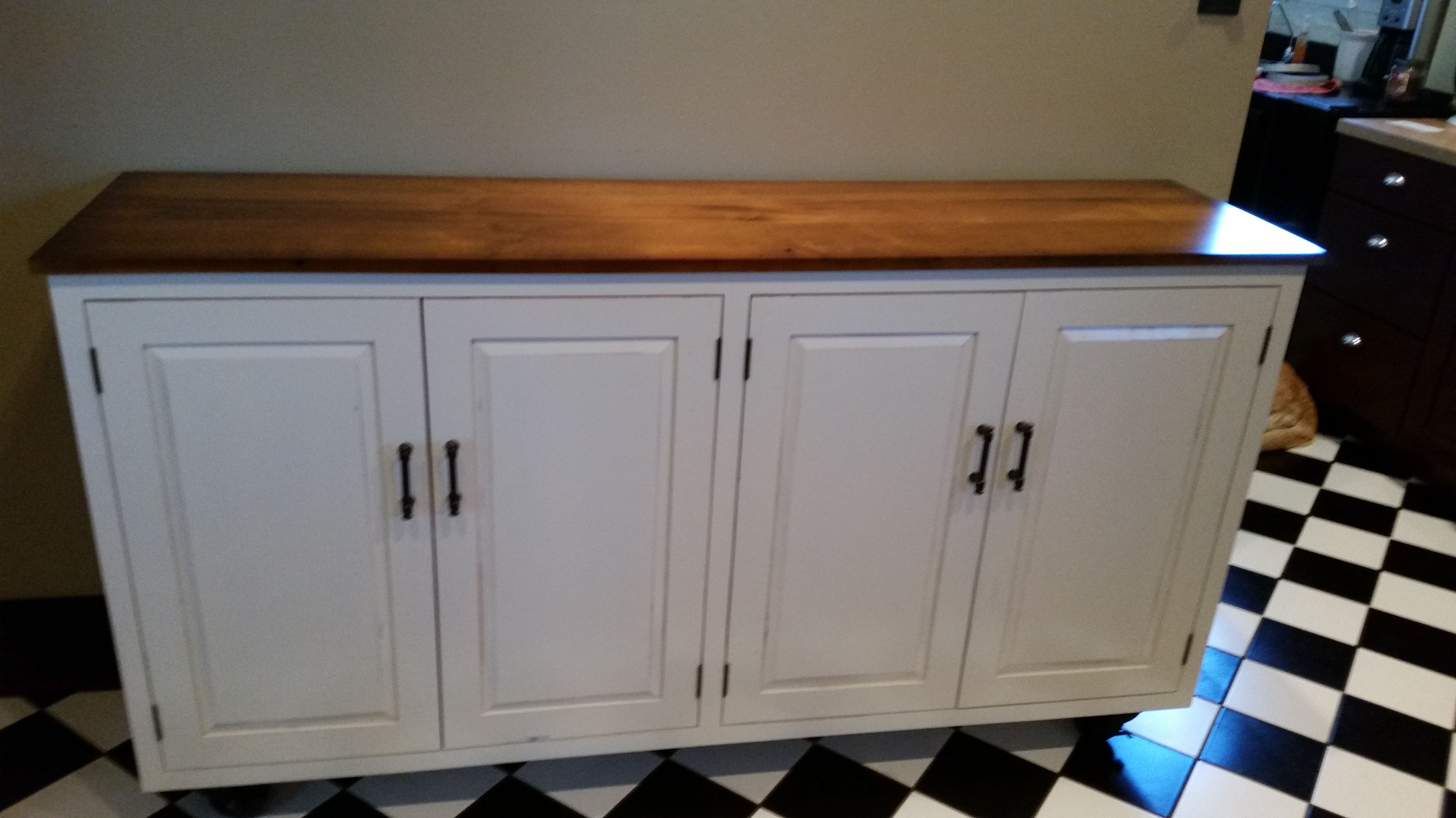 Distressed Cream Cabinet With Wormy Maple Top Custom Kitchen Cabinets Kitchen Cabinet Design Cabinet