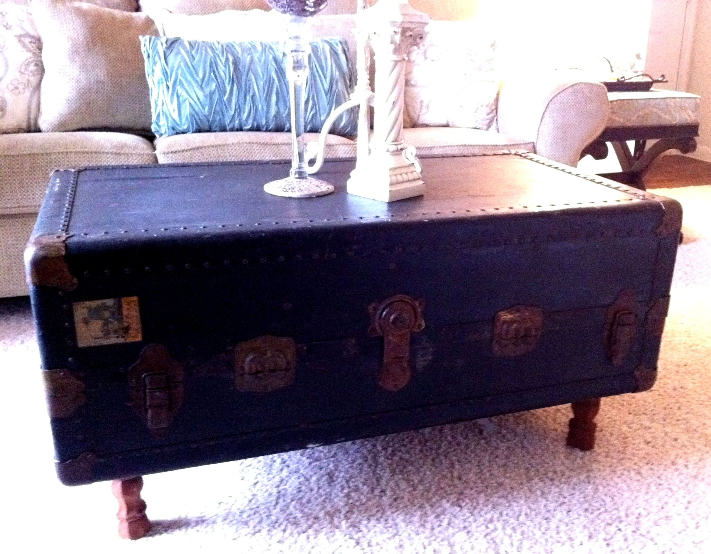 Steamer trunk coffee table repurposing old stuff trunk coffee steamer trunk coffee table repurposing old stuff geotapseo Images