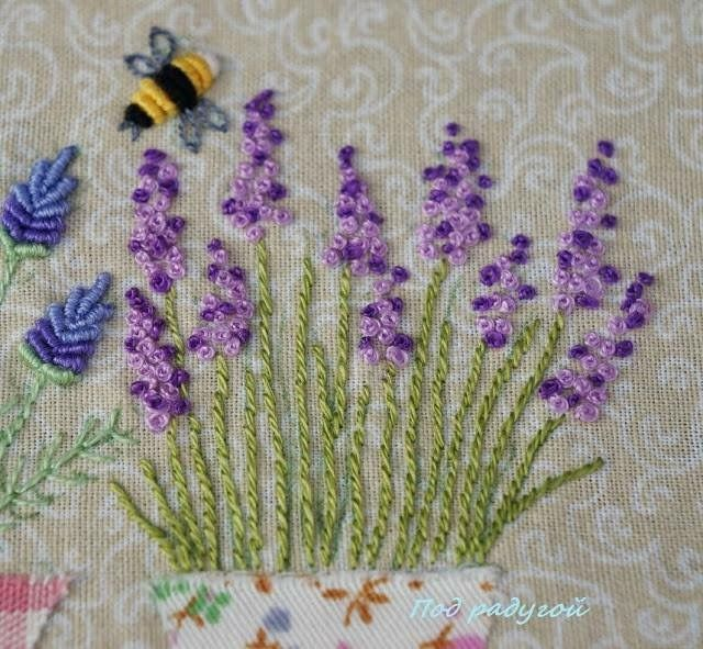 Hand embroidery garden and bees in my birds
