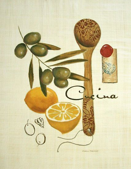 Marco Fabiano Olive Cucina Küche Fertig-Bild 30x40 Wandbild - wandbilder für küche