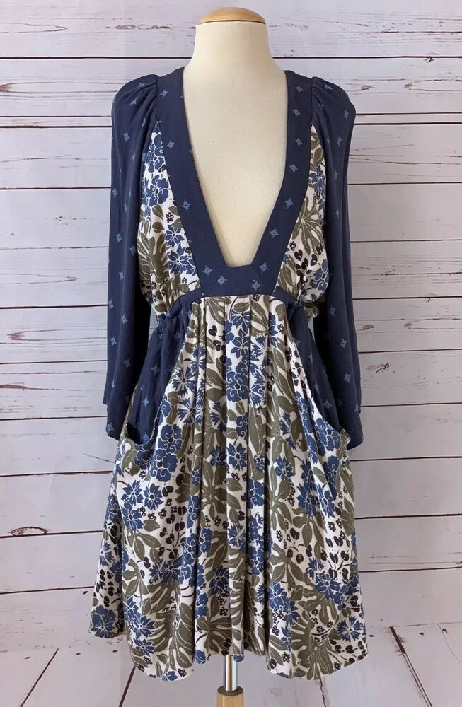 64b58864ee8 FREE PEOPLE Size M Talulla Floral Printed Mini Dress Blue Combo  FreePeople