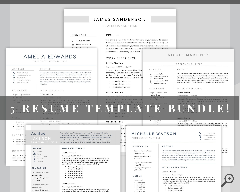 Cv template bundle resume word professional resume bundle