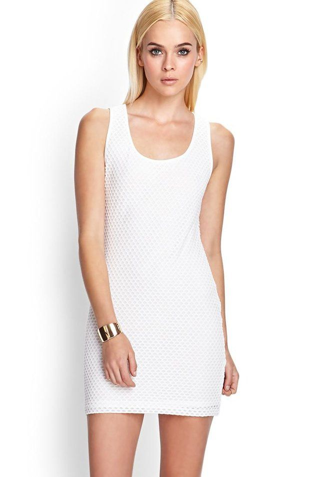 This sleeveless knit mini dress features an allover mesh net and a body-conscious, minimalist sil...