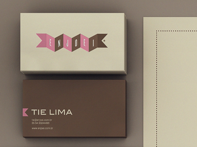 Cute business card with pink and brown banner.