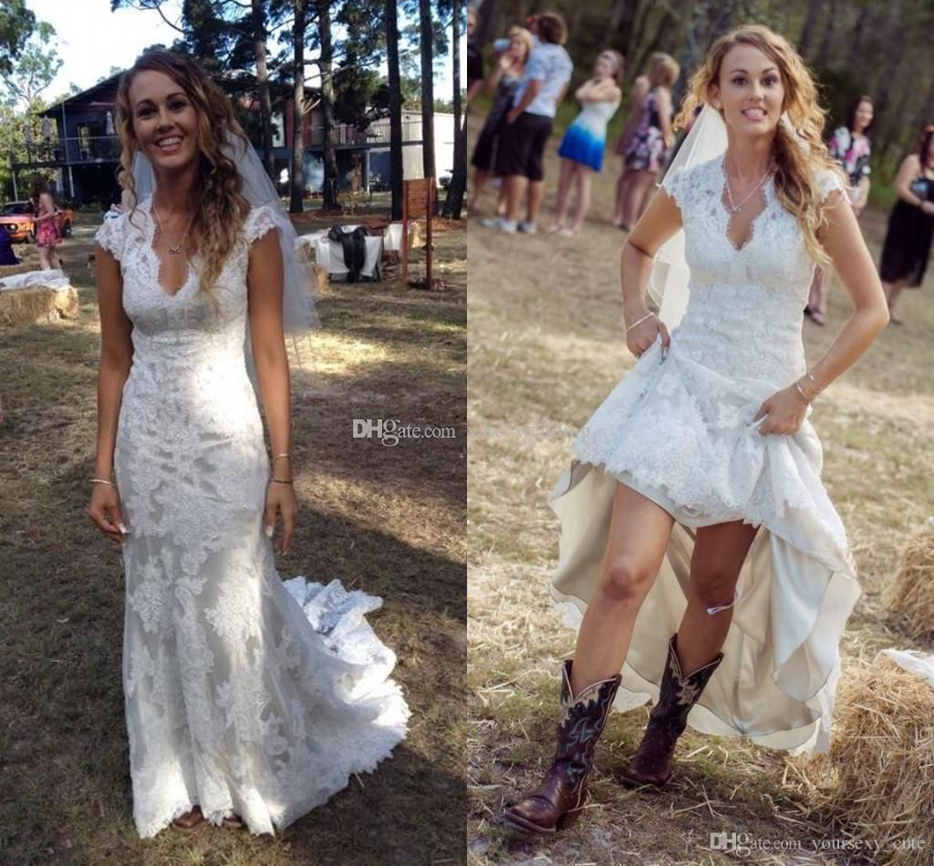 Country high low wedding dresses  Discount Vintage Short High Low Beach Wedding Dresses  Full Lace