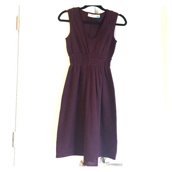 Anthropologie purple 100% merino wool dress Eggplant wool dress with detailed elastic banded waist and draped front. In great condition. Anthropologie Dresses Midi