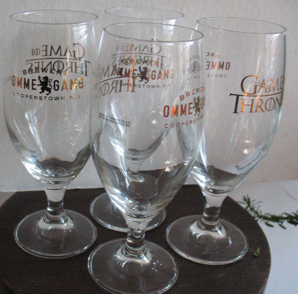 GAME OF THRONES Stemmed Beer Drink Glass SET OF 4 Ommegang