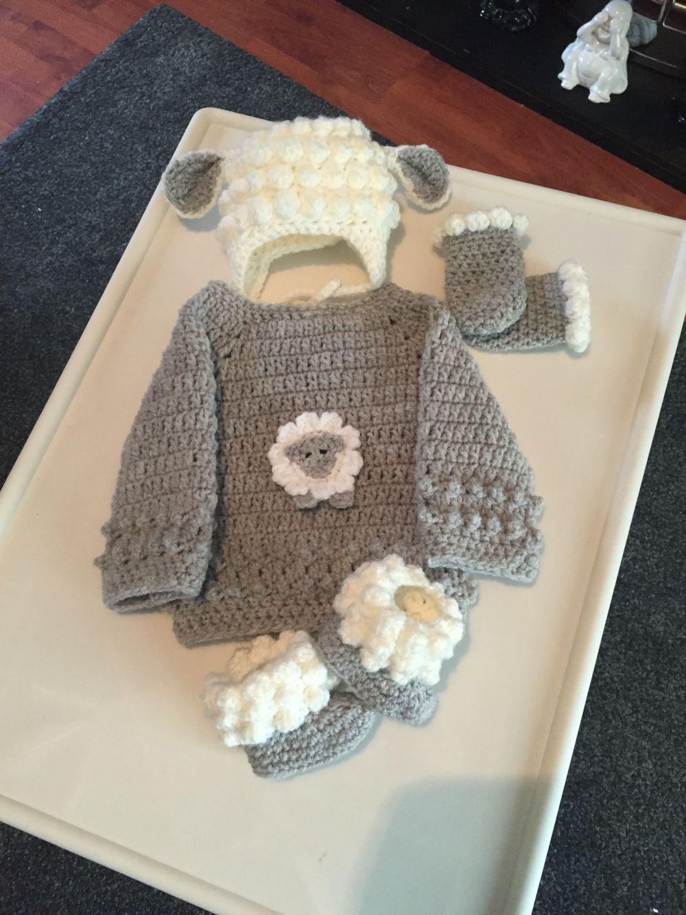 Crochet Newborn size Little Lamb set, lamb hat, jumper, booties & mitts