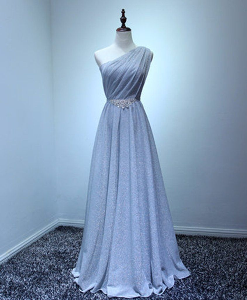 Blue gray tulle one shoulder long beaded aline prom dress in