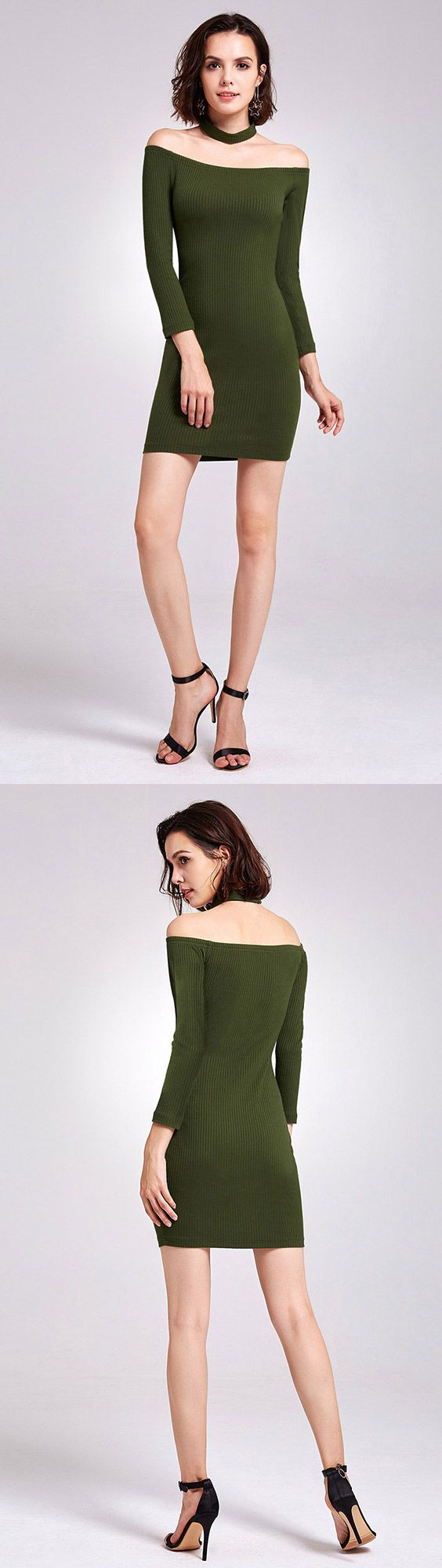 Green bodycon cheap homecoming dress with long sleeves short prom