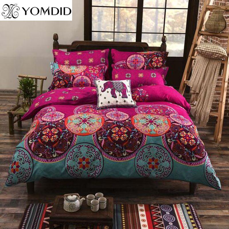 Sistema Del lecho Del Estilo bohemio Impreso Floral ropa de cama ...