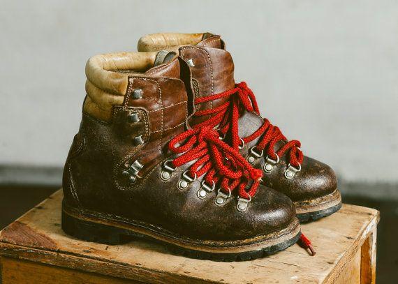 e1226c98f3d Vintage 80s Heavy Survivor Boots . Brown Leather Booties Mountain Hiking  Boots Women Mountain Shoes . women US 7