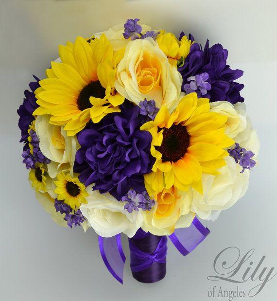 Wedding Bridal Bouquets 17 Piece Package Bouquet Silk Flowers