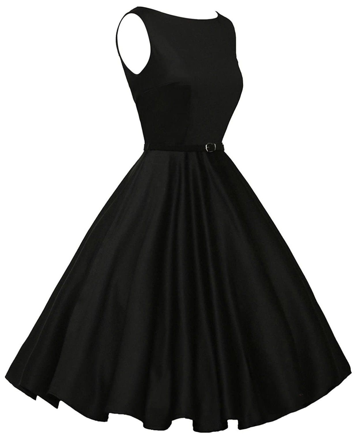 Vintage Inspired Inspired Dress with Belt, Sizes XSmall – 22W (Black) – US 20W – saved