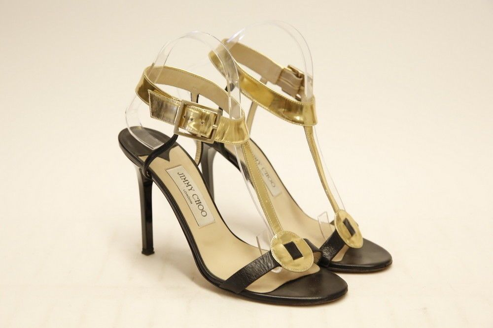 Jimmy Choo Sandal Metallic Gold Black Leather Size 38 Two Tone T Strap Heel