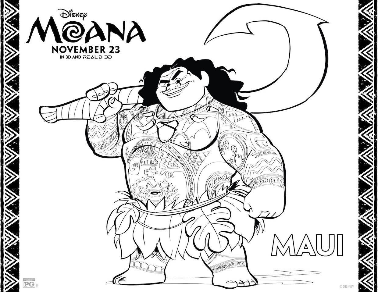 Disneys Moana Coloring Pages Activity Sheet Printables