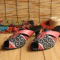 Sandal Wanita Hak Tinggi Heels 4cm Size 41 Etnik Tenun Kulit Kulit Wanita Sepatu