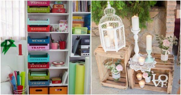 Ideas con cajas de madera decoraci n con huacales de - Cajas de madera recicladas ...