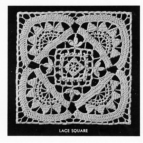 Flower Block Filet Crochet Bedspread Pattern, Vintage Cluny Filet No ...