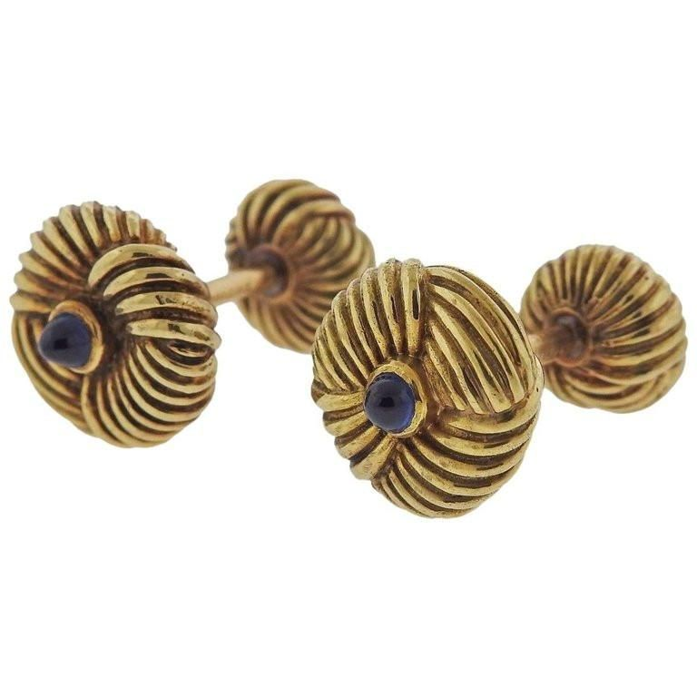 8dcbc62318cf Tiffany & Co. Schlumberger Gold Sapphire Cufflinks in 2019 | Cuff ...