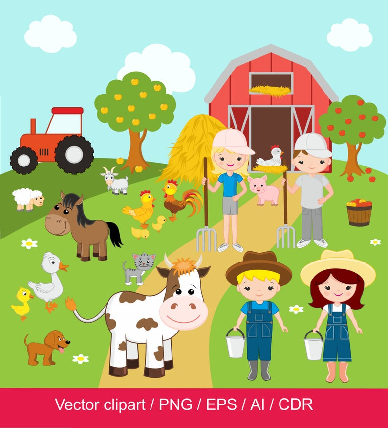 Farm Clipart Farm Digital Clip Art Barnyard Clipart Farm Etsy Clip Art Digital Clip Art Animal Clipart