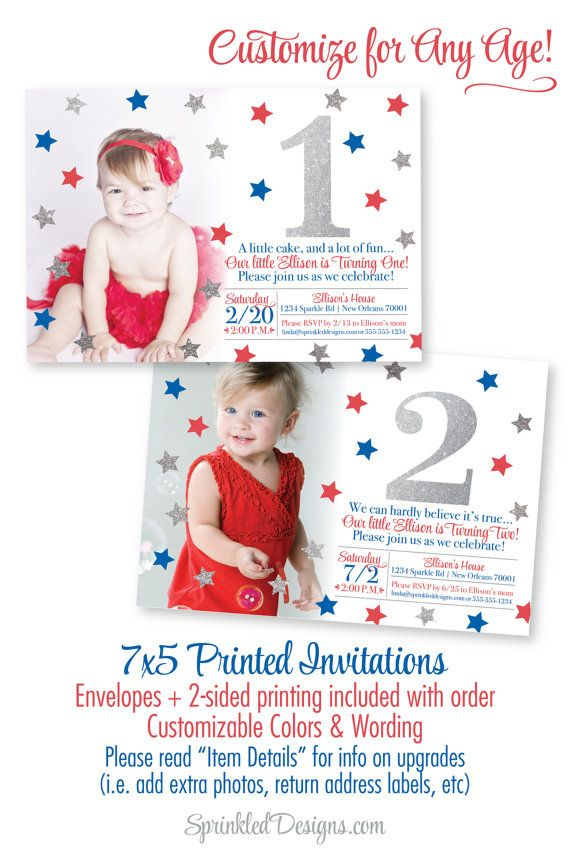 4th of July First Birthday Invitations - Red White Blue 1st Birthday ...