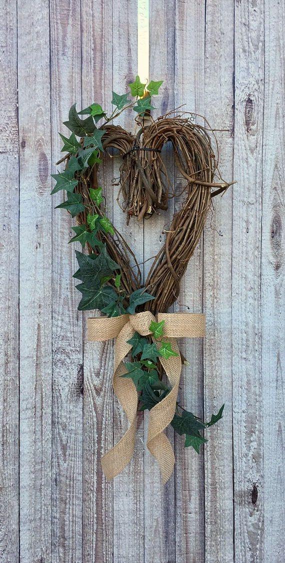 Photo of Valentine Decor, Rustic Wreath, Heart Wreath, Farmhouse Wreath for Front Door, Everyday Wreath, Wreath for Front Door Year Round