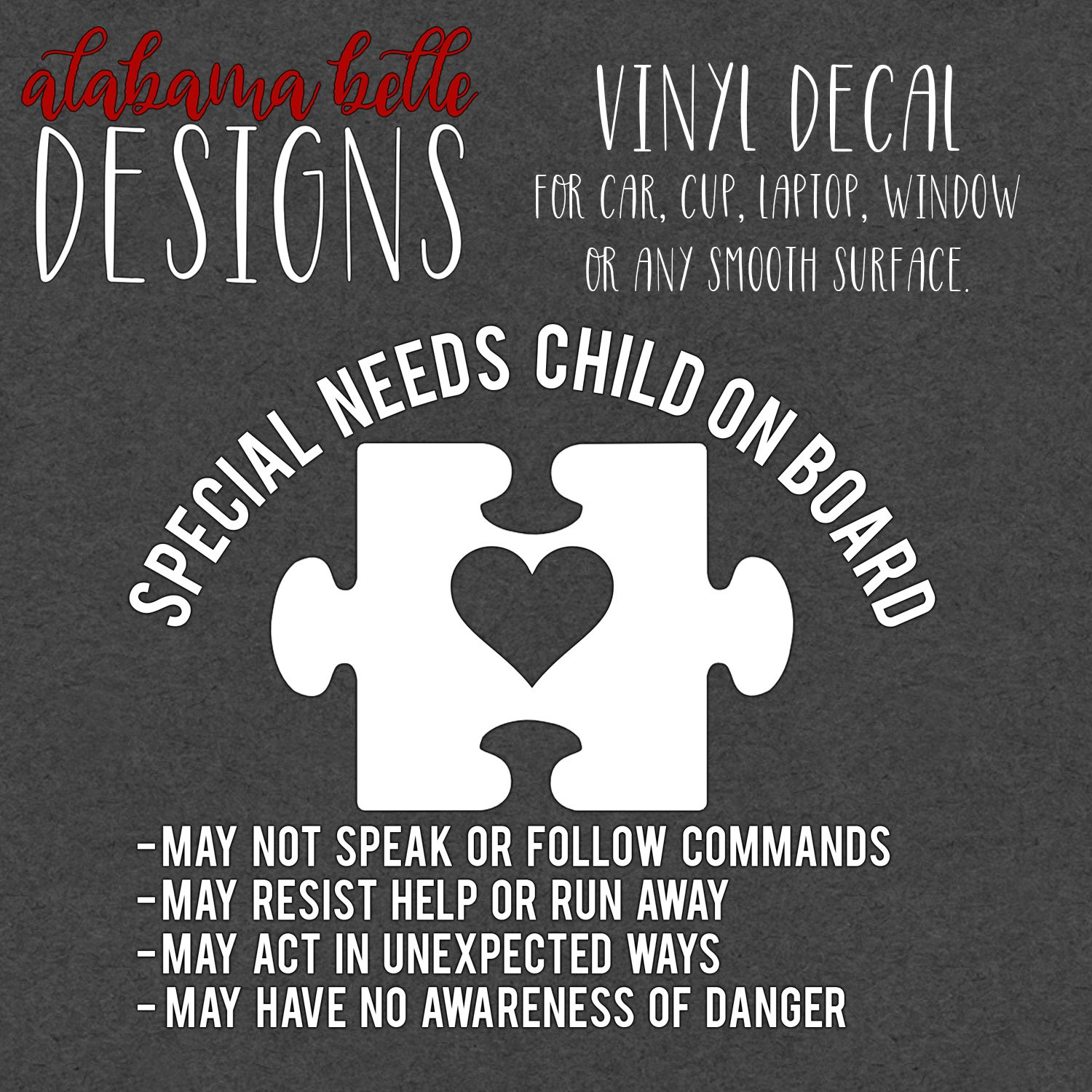 Special Needs Child On Board Vinyl Car Decal Car Decals Vinyl Car Decals Vinyl Projects [ 1500 x 1500 Pixel ]