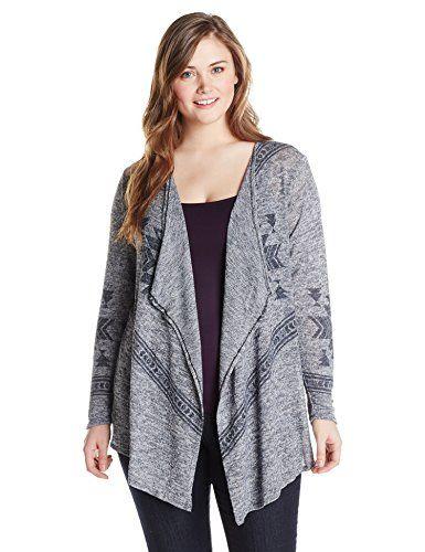 4227186ea45 Derek Heart Juniors Plus-Size Long Sleeve Marled Sweater Knit Printed  Cardigan
