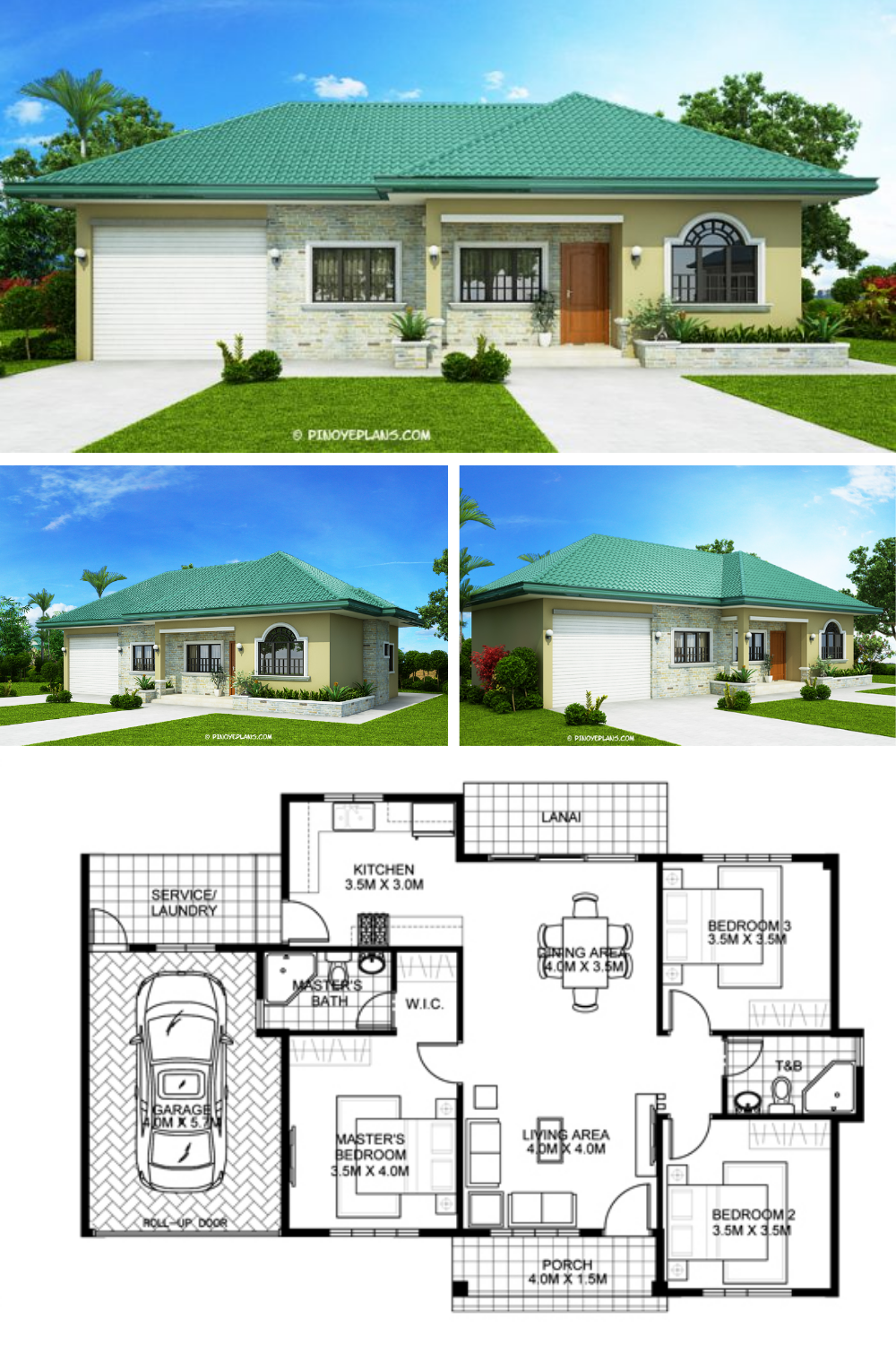 One Storey Bungalow House With 3 Bedrooms Pinoy Eplans House Plan Gallery Model House Plan House Construction Plan