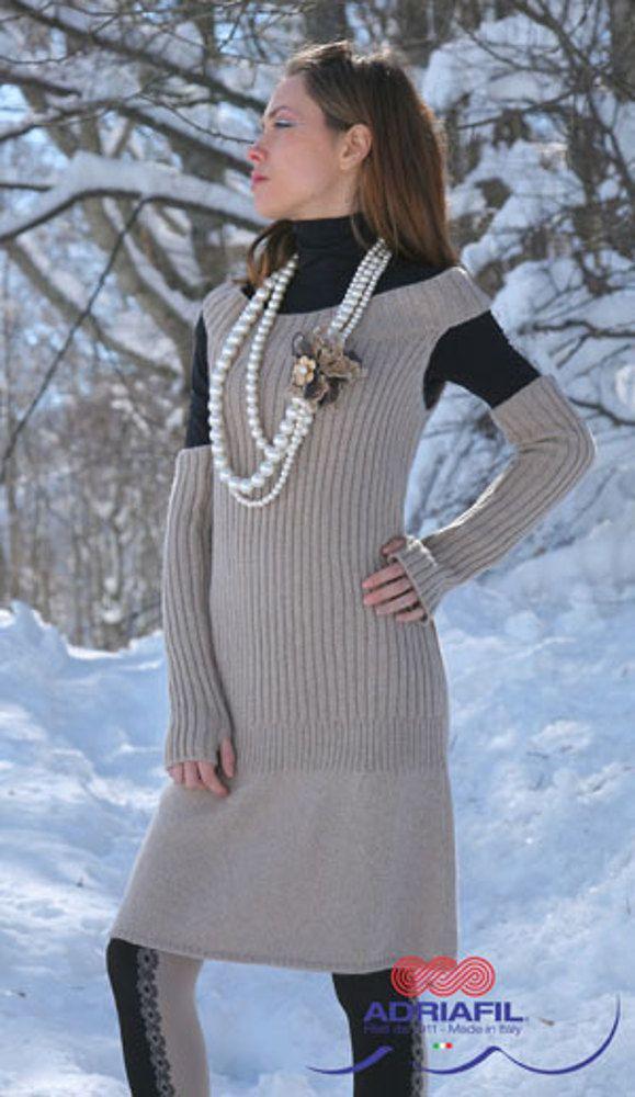 Free Knitting Pattern For Womens Dress Retro Dress In Adriafil
