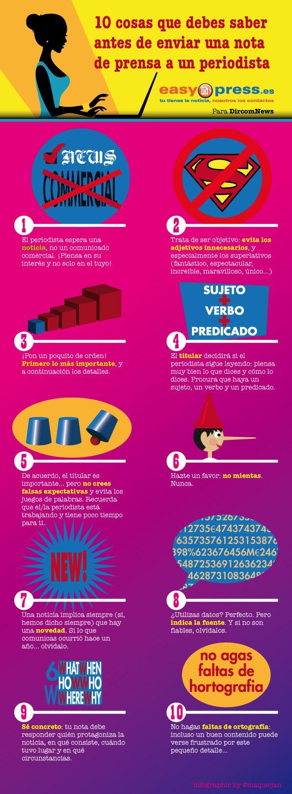 10 Consejos Antes De Enviar Una Nota De Prensa Infografia Infographic Marketing Tics Y Formación Nota De Prensa Comunicacion Y Marketing Periodismo